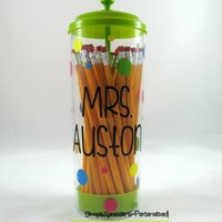Pencil Holder- Teacher gift, back to school, teacher appreciation from SimpleXpressions-Personalized!