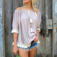 Without A Doubt Taupe Off The Shoulder Crochet Trim Fringe Top