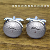 Golf ball  cufflinks ,Gift for daddy  cufflinks, Titleit  ball  cufflinks, wedding cufflink,silver cufflinks, Men cufflinks,