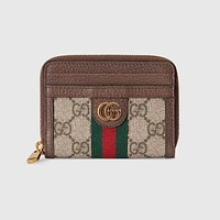 GG Women's Red and Green Striped Short Zip Wallet Bag