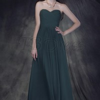 Exquisite Ruched A-Line Sweetheart Long Bridesmaid Dress