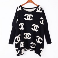 Retro loose bat sleeve sweater