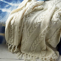 AEO APT Cable Knit Throw Blanket, Toasted Coconut