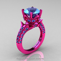 Classic French 14K Fuchsia Pink Gold 3.0 Ct Blue Topaz Solitaire Wedding Ring R401-14KFPGBT