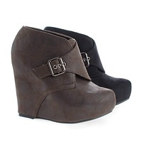 Dudley By Soda, Hoop and Loop Hidden Platform High Wedge Ankle Booties