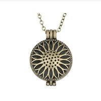 Steampunk Magic Round Locket - Glow in the Dark Pendant - Round Sunflower