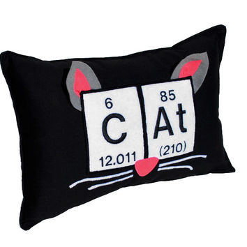 """Cat Periodic Table Embroidered Pillow -10"""" x 15"""""""