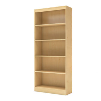 5-Shelf Bookcase Storage Shelves in Natural Maple Finish