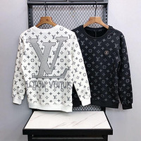 LV Louis Vuitton autumn and winter new hot diamond printing casual plus fleece top