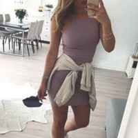 Purple Strap Bodycon Dress