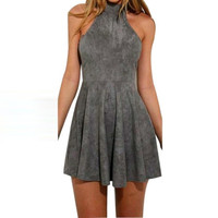 Sleeveless Back Bandage Dresses Women Sexy Halter Solid Evening Party Hollow Out A-Line Mini Dress Women vestidos #63 SM6