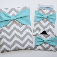 Coordinating Cases - MacBook, iPad / iPad Mini, and Cosmetic Case - Gray Chevron Light Turquoise Bow - Padded