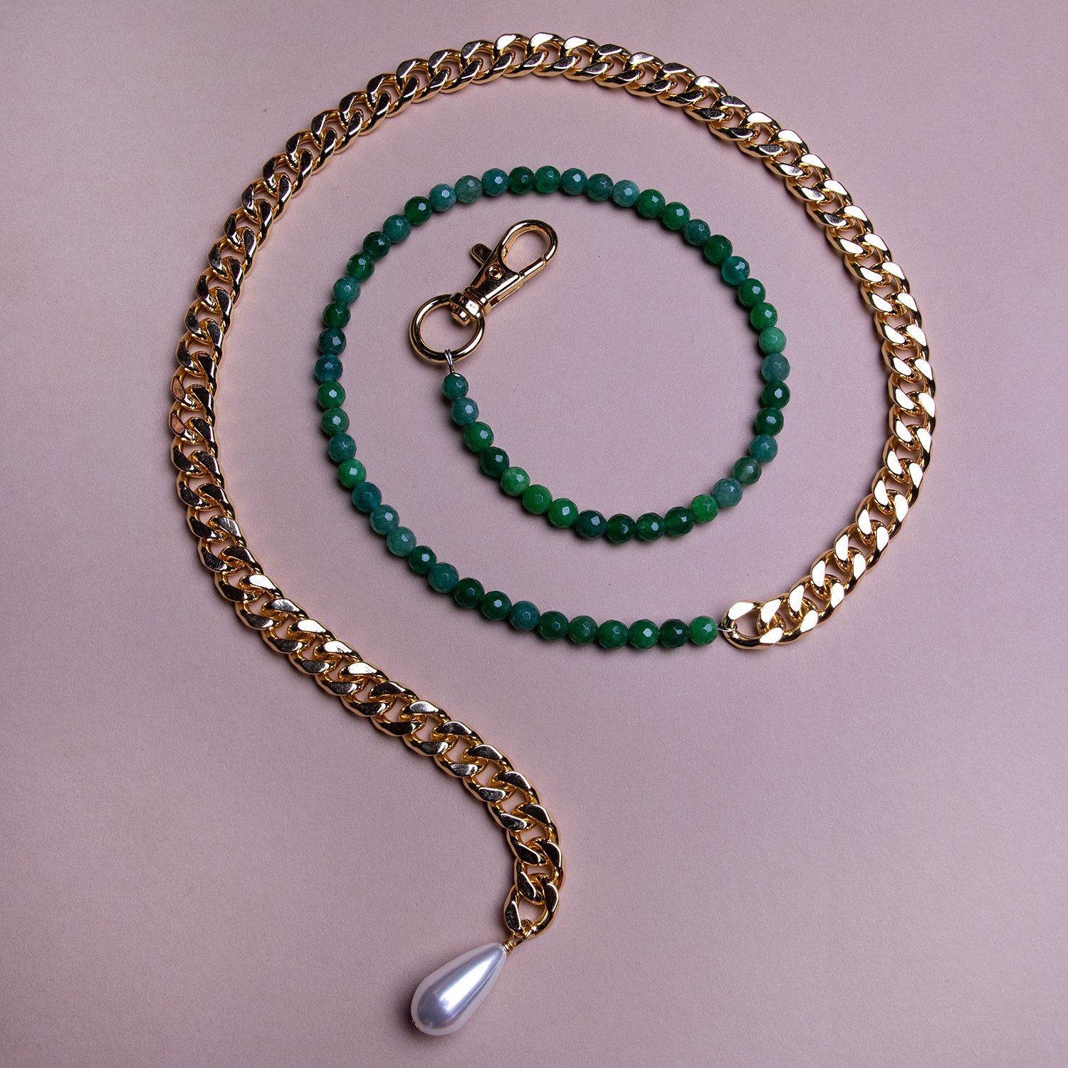 Image of 50/50 Jade Belly Chain