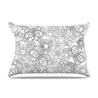 """Julia Grifol """"My Butterflies and Flowers in Black"""" Pillow Case"""