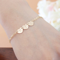 Triple hearts Bracelet - 14K gold filled, personalized initial, engraved bracelet, romantic birthday gift, mom mothers sister birthday gift