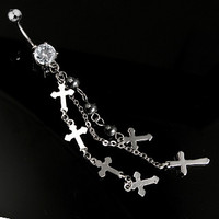 14g Dangling Cross and Clear Gem Charm Belly Button Ring Dangle Navel Body Jewelry Piercing with Surgical Steel Curved Barbell 14 Gauge