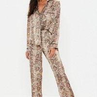 Missguided - Brown Snake Print Pants Pajamas Set