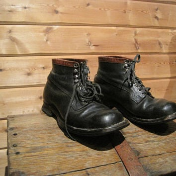 Vintage shoes working shoes man military combat boots black leather boots men rough boots