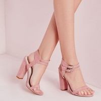 Missguided - Double Strap Block Heeled Sandals Rose Faux Suede