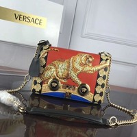 DCCK VERSACE WOMEN'S LEATHER INCLINED CHAIN SHOULDER BAG