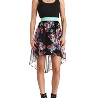 BOW-BACK FLORAL HIGH-LOW DRESS
