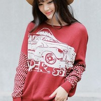 Fireside Automobile Graphic Sweater