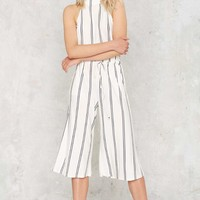 Stripe Her Down Backless Jumpsuit