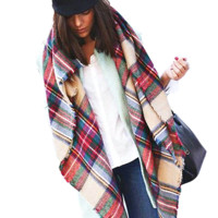 Exclusive Sale Imitation Cashmere Design Plaid Blanket Scarf
