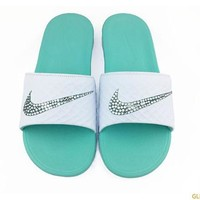 Women's Nike Benassi Solarsoft Slide Sandal + Crystals - White/Teal