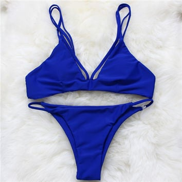 New Fashion Solid Vintage Bikini Retro Sex Swimsuit Thong Swimwear Women Bathing Suit Brazilian Biquini Maillot De Bain