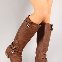 Round Toe Riding Knee High Boot