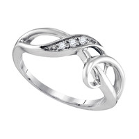 Diamond Fashion Ring in White Gold-plated silver 0.03 ctw