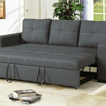 2 pc Daryl II collection blue grey linen like fabric upholstered sofa set with pull out sleep area
