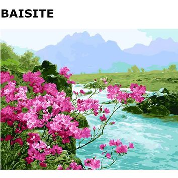 BAISITE Wall Art Seascape DIY Acrylic Painting By Numbers Handpainted Canvas Modern Wall Picture For Living Room Home Decor E395
