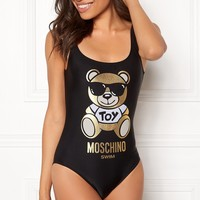 Moschino Tide brand female models sexy wild piece high fork gilding bear print swimsuit bikini Black