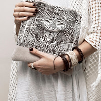 Tribal Pattern Printed  Leather Pouch No. ZP-901