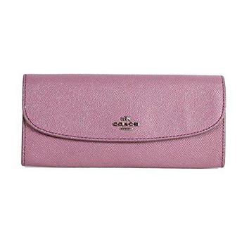 COACH SOFT WALLET IN CROSSGRAIN GLITTER LEATHER F11835 LILAC