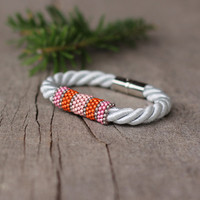 White silver pink orange rope bracelet - magnetic closure - contemporary jewelry - gift under 15 - gift for girlfriend
