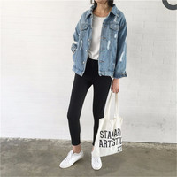 Women Denim basic Jackets Vintage Long Sleeve Loose Female Jeans Casual ladies button Coats Outwear 2017 oversized spring hole