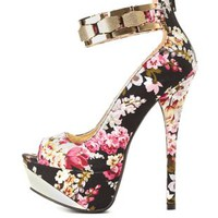 Qupid Floral Print Platform Pumps by Charlotte Russe - Black Multi