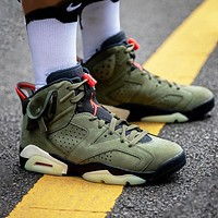 Bunchsun Air Jordan 6 x Travis Scott Fashion Men Casual Luminous Sport Basketball Shoes Sneakers Green