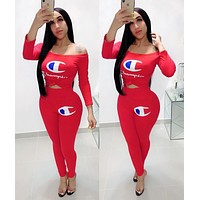 Champion Hot Sale Women Casual Print Long Sleeve Top Pants Trousers Set Two-Piece Sportswear Red