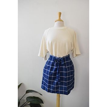 Draper James Blue Window Pane Skirt