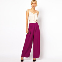 Solid Pleated Loose Chiffon Pants