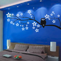 larger cherry tree with owldecor wall sticker art by yitingsticker