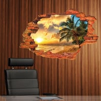 Giant Tropical Sea Palm Tree Beach Window Wall Sticker Removable Art Vinyl Mural (Color: Multicolor)