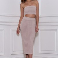 Rhythm and Suede Tube Top- Taupe