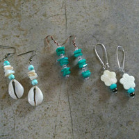 Sea Shells, Bundle of Three, Handmade Earrings, Cowrie Shell Jewelry,  Natural Shells, Gift For Her, Summer Fashion, Free Shipping in USA