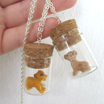 Lion King necklaces - Simba & Nala glass bottle BFF necklaces - 90's gear