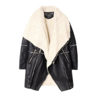 Leather and Wool Oversized Coat